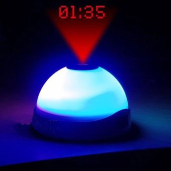 Led Clock Star Night Light Magic Projection Alarm Table Clock -Putih