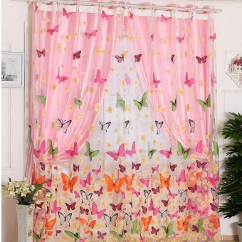 Living Room Bedroom With Butterfly Print Window Screens - intl - 3