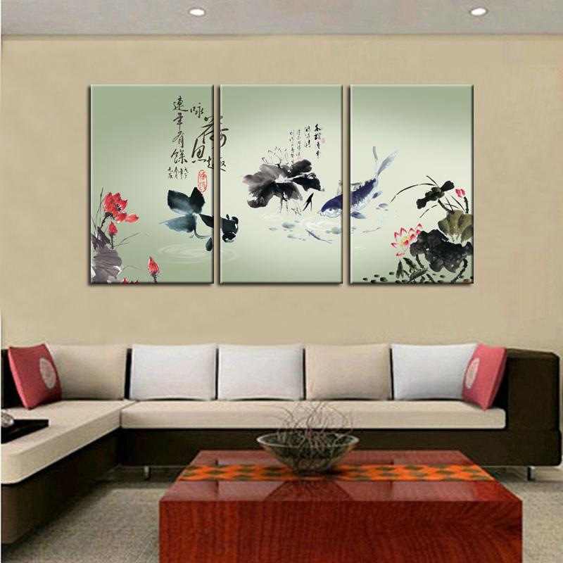 Modern abstrak Cina klasik lotus minyak ikan HD lukisan pemandangan lukisan cat minyak di atas kanvas