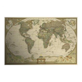 Moonar Vintage antik poster dunia peta wall Stiker kertas untuk dekorasi rumah - 2