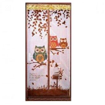 MS - Mesh Tirai Magnet Anti Nyamuk Motif Owl - Coklat