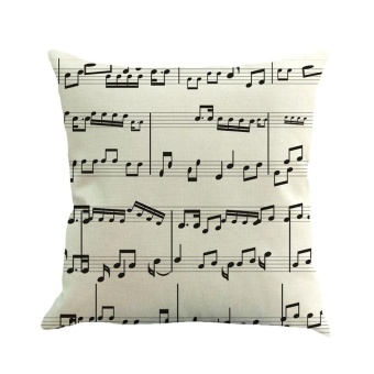 Musical Note Painting Linen Cushion Cover Throw Pillow Case SofaHome Decor F - intl