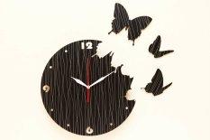 Nail Your Art Jam Dinding Unik Artistik - Butterfly Black - Artistic Unique Wall Clock