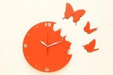 Nail Your Art Jam Dinding Unik Artistik - Butterfly Orange - Artistic Unique Wall Clock