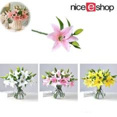 NiceEshop Buatan Lily Bunga Simulasi Palsu Dekorasi Bunga untuk Dekorasi Rumah Pesta Pernikahan Dekorasi-Intl