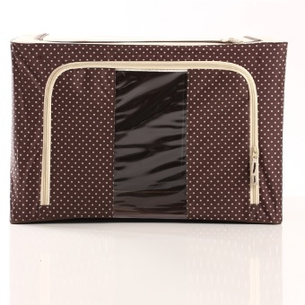 Oxford Box Steel Frame Oxford Fabrics Foldable Storage Box - 66L -Polkadot Cokelat