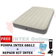 PAKET Kasur Angin INTEX HIGH QUALITY DURABEAM DOUBLE 64708 + POMPA + LEM 64708