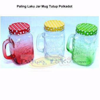 Paling Laku Gelas Mug Jar 3 pcs - Tutup Polkadot / Tutup kedapUdara · >>>>