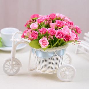 QQ baru rotan roda tiga berlian naik hiasan bunga sutra bunga bunga