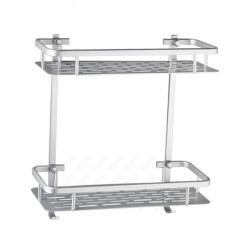 Rak Dinding Aluminium 2 Susun Serbaguna untuk Dapur dan Kamar Mandi