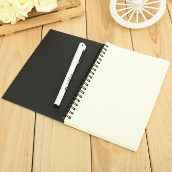 Reeves Retro Spiral Bound Coil Sketch Book Blank Notebook Kraft Sketching Paper Black Card Cover White Paper Inside Page - intl