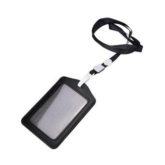 Retractable Reel Recoil ID Badge Lanyard Name Tag Key Card Holder Belt Clip Black - intl