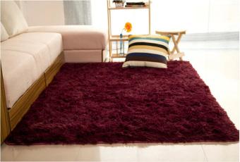 harga Shaggy anti-selip Fluffy Yoga karpet karpet lantai tikar / Cover 80x120cm anggur merah - intl Lazada.co.id