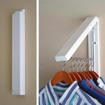 Stainless Folding Wall Hanger Mount Retractable Clothes FoldableHangers(white) - intl