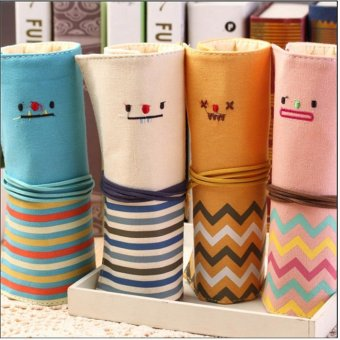 star mall-Creative Canvas Smile Roll Pencil Case Students'Stationery Pens Bag Cosmetic Bag Holder - intl