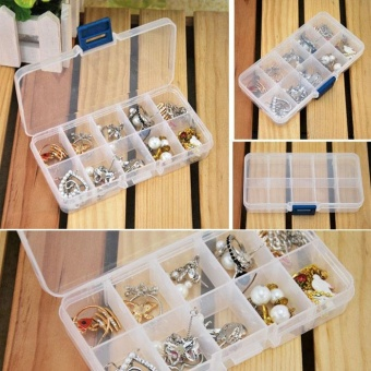 Storage Case Box Holder Container Pills Jewelry Nail Art Tips 10Grids - intl