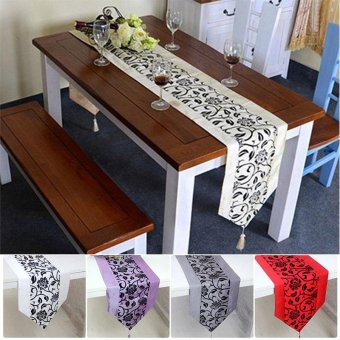 Table Runner Floral Printed Taffeta Retro Table Linen Decorationcolor:red - intl ...
