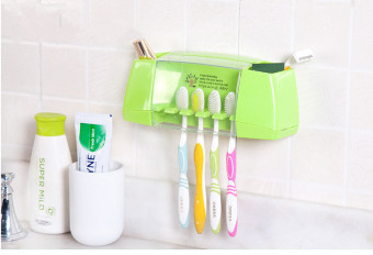 The creative strength of paste type multifunctional toothpaste toothbrush holder bathroom toiletries storage rack-Green