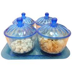 Toples kue lebaran safira set 4pcs + tray - biru