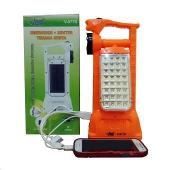 VDR Senter + Lampu Emergency + Power Bank Tenaga Surya V-977S -Lampu darurat