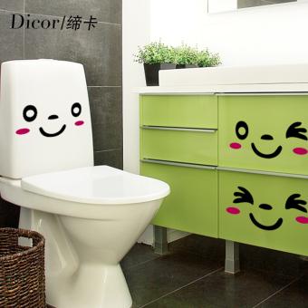 Wajah tersenyum potong kamar mandi Waterproof toilet stiker