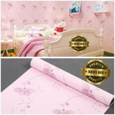 Wallpaper Sticker Dinding Pink Bunga Ungu Bertangkai