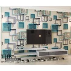 Wallpaper Sticker Dinding Pohon Bingkai Biru Kotak-Kotak Keren Modern