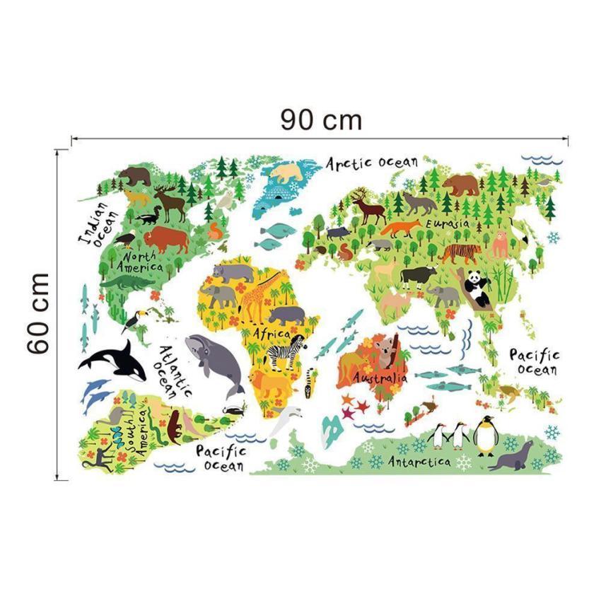 ... Dapat Dilepas Aneka Source · YiKa Warna Warni Peta Dunia Wall Sticker Decal Vinil Anak Seni Dekorasi