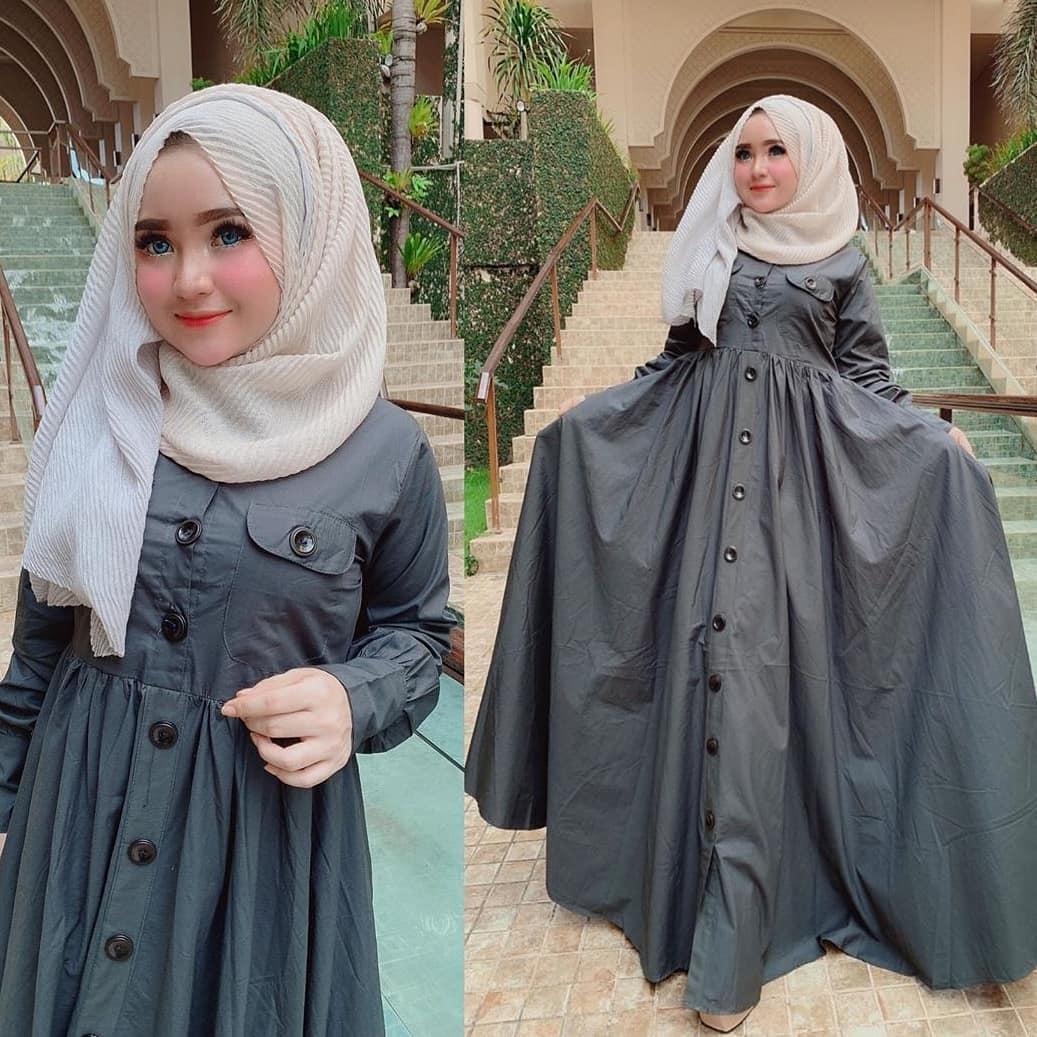 Baju Muslim Modern Gamis ASKA DRESS Bahan MOSSCRAPE ROK LEBAR Baju Gamis  Terusan Wanita Paling Laris Dan Trendy Baju Panjang Polos Muslim Dress  Pesta