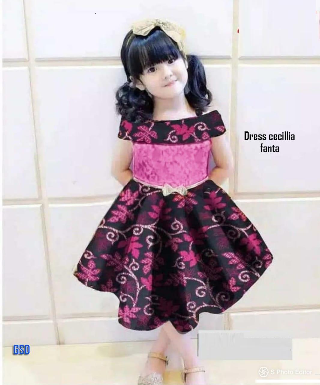 Dress Anak Perempuan Gaun Pesta Anak Dress Brokat Batik Baju Tanah Abang Dress Cecilia