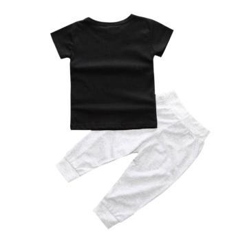 1 Set Bayi Laki-Laki Anak T-Shirt Atasan + Celana Panjang Hitam - 2
