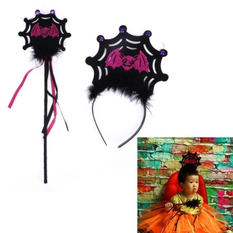 2pcs Set Halloween Ghost Bat Hair Decor Hair Clasp Magic Stick(Pink) - intl