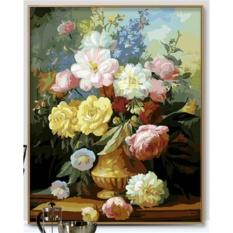 33 jenis 40X50 CM Handpainted DIY Lukisan Minyak Dengan Bingkai Kayu DIY Nomor Lukisan Modern Pemandangan Seni Bunga Dekorasi Dinding untuk Rumah (PEONY)-Intl
