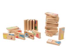 360g Anak-anak Kartun Kayu Kognitif Domino Domino Blok Bangunan Jigsaw Puzzle