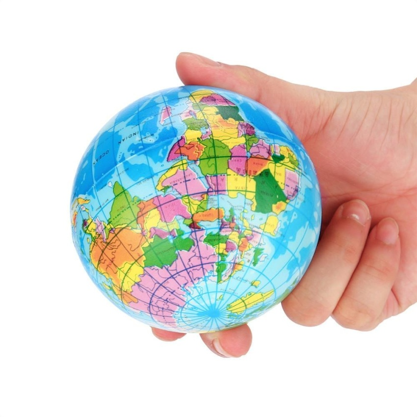 Harga Jual 76mm Stress Relief World Map Foam Ball Atlas