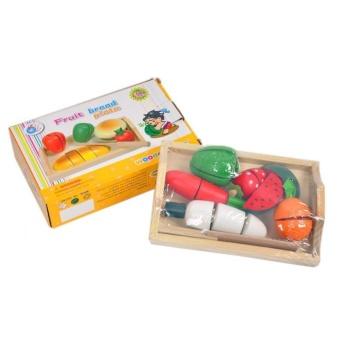 AA Toys Fruit Bread Plate Wooden Toys - Mainan Anak Buah Potong Kayu Set