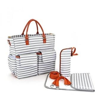Abonnyc Canvas Baby Diaper Bag Messenger Changing Pad Shoulder Bag Organizer Handbag Tote Bag Fit Stroller , Grey and white - intl