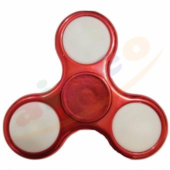 AIUEO - Fidget Spinner LED New Exotic Hand Toys Mainan Tri-Spinner EDC Focus Games Fidget Spinner Metalic Led - Merah