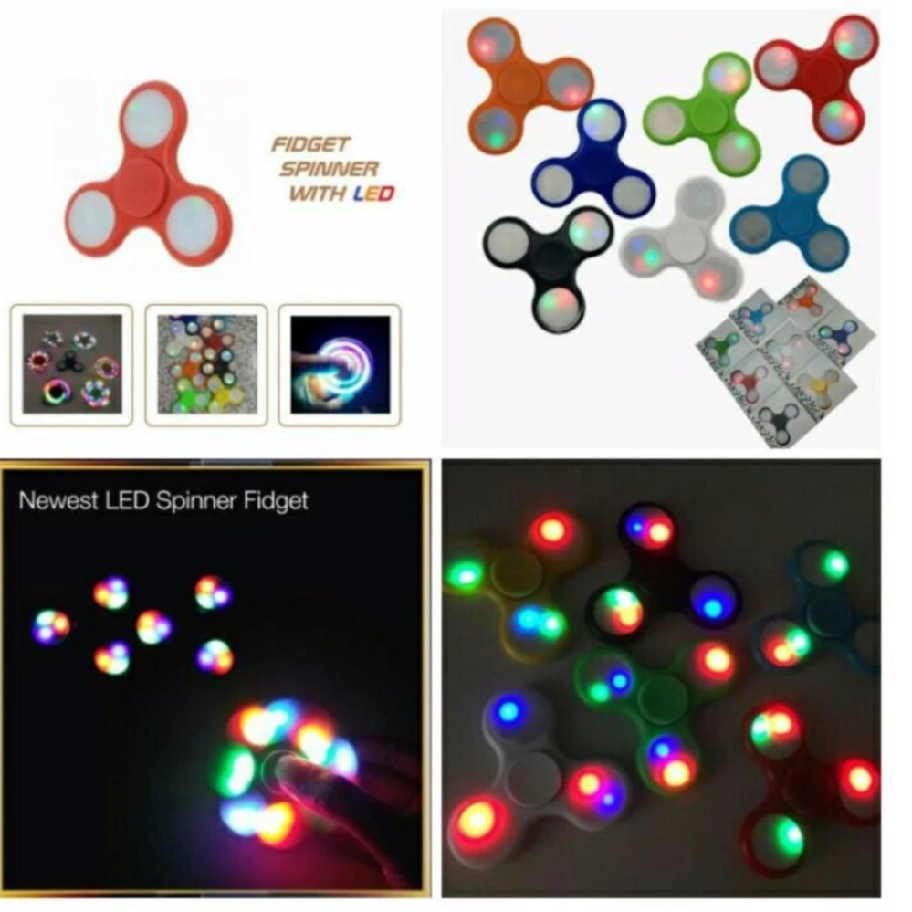 ... ANGEL LED Fidget Spinner Hand Toys Mainan Tri-Spinner EDC Focus Games Penghilang stress Warna ...