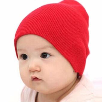 AXHL Baby Knit Beanie Hat Topi Kupluk Rajut Melar Ada 3 Warna Hitam Biru  Merah 231ed07273