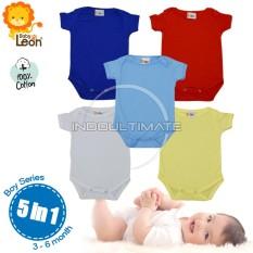 BABY LEON Baju Bayi Jumsuit 5pcs BC-01 seri cowok Newborn / 100% katun / Pakaian bayi / baju bayi laki laki baju bayi perempuan / perlengkapan bayi / jumper / baju set  bayi newborn / kaos bayi