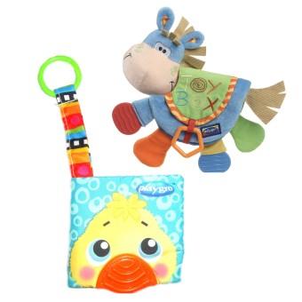 Baby Talk Paket 2in1 Softbook Teether Baby Donkey + SoftbookTeether Bunny - Buku Edukasi Untuk Melatih Motorik Bayi