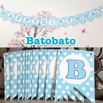 Gambar Banner Bunting Flag Happy Birthday Motif Permata Polkadot