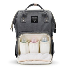 Bayi perawatan besar kapasitas tahan air Maternity lampin Zipper casing perjalanan ransel dengan kantong hangat isolasi - Grey