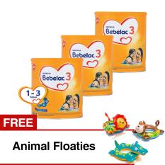 Bebelac 3 Bebenutri Plus Susu Pertumbuhan - Vanila 800 gr - Bundle 3 Kaleng FREE Animal Floaties