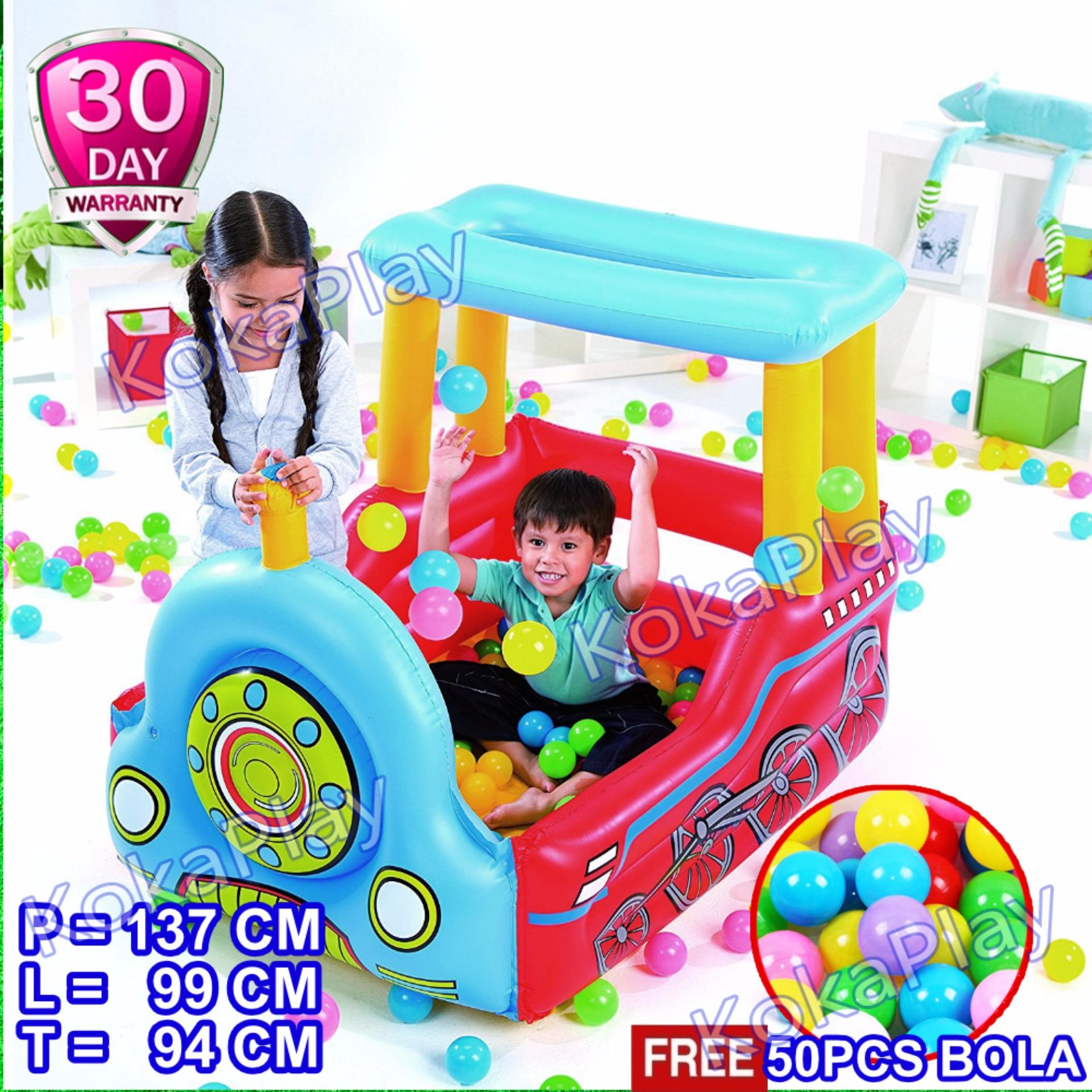 Shopping Comparison Bestway Inflatable Train Play Center Ball Pool Mainan Pelampung Mobil Mobilan Kereta Api Kolam Bola + Free 50pcs Bola