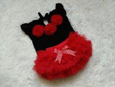 BNC Setelan baju dan rok tutu set 0-12bln  - Merah Hitam