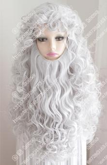PENAWARAN COS perak abu-abu pita jenggot panjang keriting rambut wig TERBAIK