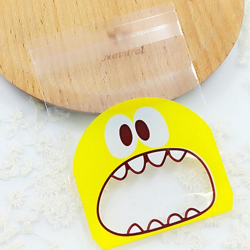 Diotem 100PCS Little Monster Candy&Cookie Self-adhesive PlasticBag For Biscuits Snack Baking .