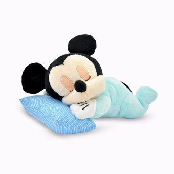 Disney Original Boneka Bayi Mickey Tikus ( Baby Mickey Mouse Lying Plush Doll ) 12 inch Blue